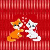 Two kittens on a red background with dots of hearts, seamless pattern. Two kittens on a red background with dots of hearts, seamless pattern, beautiful Royalty Free Stock Image