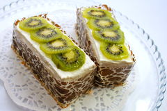 Two kiwi cakes Royalty Free Stock Photos