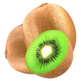 Two kiwi and half isolated on white Stock Photos