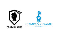 Two knight helmet logos. Two logos that consists of an image of a knight helmet from around XV century Europe. One of the logos has a shield Stock Photography