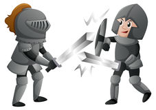 Two knights in armours fighting. Illustration Stock Photography