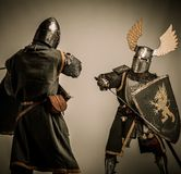 Two knights battle. Fight between two medieval knight Royalty Free Stock Photos