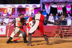 Two knights fighting Royalty Free Stock Photos