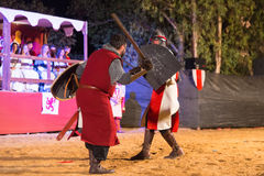 Two knights fighting Stock Image