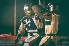 Two knights fighting. During Medieval festival in Elvas, Portugal royalty free stock photography