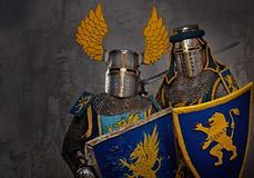 Two knights in full amor Stock Images