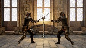 Two knights in medieval armor fight each other with swords. 3D Rendering royalty free illustration