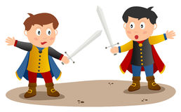 Two Knights with Sword. Two cute little knights or princes charming with cloak and a sword in a duel. Eps file available Stock Photography