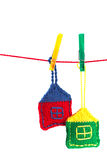 Two knitted colorful houses Stock Photography