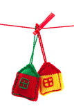 Two knitted colorful houses Stock Photo