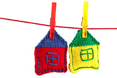 Two knitted colorful houses stock image