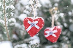 Two knitted hearts hanging on a branch. Symbol of love and Valentine`s day celebration.  royalty free stock photos