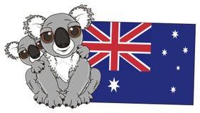Two koalas with Austalian flag Stock Photos
