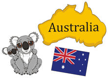 Two koalas with continent and flag of Australia. Adult and little koala sitting near the Australian flag and continent Stock Image