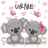 Two Koalas on a hearts background. Two cute Koalas on a hearts background Royalty Free Stock Photos