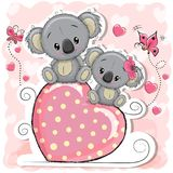 Two Koalas is sitting on a heart. On a pink background Stock Photography