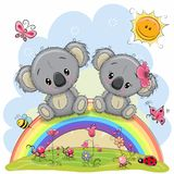 Two Koalas are sitting on the rainbow. Two Cute Cartoon Koalas are sitting on the rainbow stock illustration