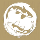 Two koi carps laser or plotter cut vector illustration for stickers, print, stencil manufacturing and engraving Stock Images