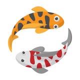 Two koi fishes icon, cartoon style. Two koi fishes icon on white background in cartoon style. Koi fishes yin yang Royalty Free Stock Image