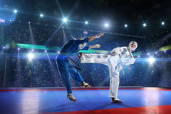 Two kudo fighters are fighting on the grand arena Royalty Free Stock Images