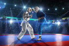 Two kudo fighters are fighting on the grand arena Royalty Free Stock Photos