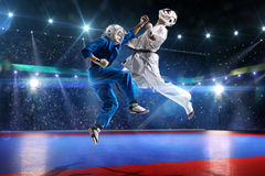 Two kudo fighters are fighting on the grand arena Stock Images