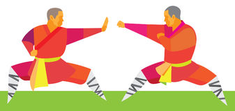 Two kung fu fighters start a duel Royalty Free Stock Photo