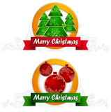 Two label with balls and fir tree & text Stock Photo