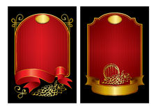 Two labels. Illustration - a set of red labels with ribbons vector illustration
