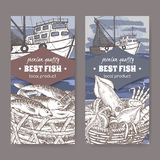 Two labels with color fishing boat, fish and seafood basket. Set of two labels with fishing boat, fish and seafood basket. Great for markets, fishing, fish Stock Image
