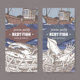 Two labels with color old fishing boat, fish and seafood basket. Set of two labels with fishing boat, fish and seafood basket. Great for markets, fishing, fish Stock Images