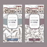 Two labels with cottage, mint and sage sketch on white. Stock Photography
