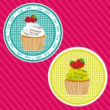 Two labels cupcakes Royalty Free Stock Image