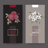 Two labels with Damask rose and jasmine bouquet color sketch. Set of two elegant labels with Damask rose and jasmine bouquet color sketch. Aromatherapy series Vector Illustration