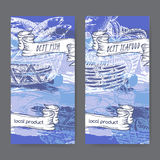 Two labels with, fish, seafood baskets on painted blue background. Stock Photos