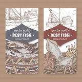 Two labels with fishing boat, color fish and seafood basket on white background. royalty free illustration