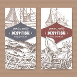 Two labels with fishing boat, fish and seafood basket cardboard. Stock Photography