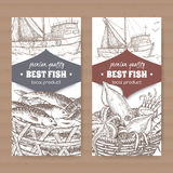 Two labels with fishing boat, fish and seafood basket on white background. Set of two labels with fishing boat, fish and seafood basket on white background Royalty Free Stock Photography