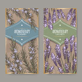 Two labels with lavender and rosemary color sketch. Set of two labels with lavender and rosemary color sketch on vintage background. Aromatherapy series. Great Stock Photo