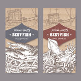 Two labels with old fishing boat, fish and seafood basket on cardboard. Set of two labels with fishing boat, fish and seafood basket placed on cardboard texture Stock Photos