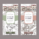 Two labels with Provence cottage, fennel and laurel sketch. Royalty Free Stock Photography