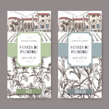 Two labels with Provence mansion, basil and tarragon on white Stock Photography