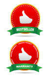 Two labels - warranty, bestseller. Royalty Free Stock Image