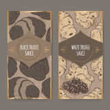 Two labels for white and black truffle sauce color sketch. Royalty Free Stock Photography