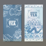 Two Labels With Chinese Tea Design