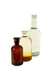 Two laboratory flasks and bottle Royalty Free Stock Photos