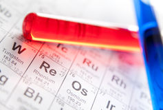 Two laboratory test tubes on the periodic table. Two test tubes with colored reagents lying on the periodic table Stock Photography