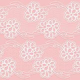 Two Lace Ribbons. Seamless white floral tape on a pink background. Stock Photo