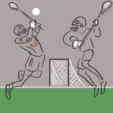 Two Lacrosse players in action vector background royalty free stock images