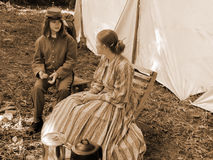 Two Ladies Civil War Reenactors royalty free stock photos